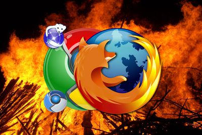 The Firefox logo and Chrome logo against a fire background