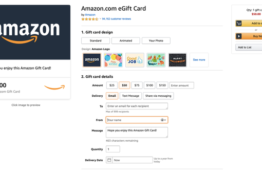 Purchasing an eGift card on Amazon
