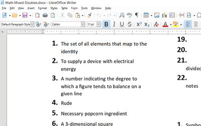 Screenshot of a LibreOffice Writer document