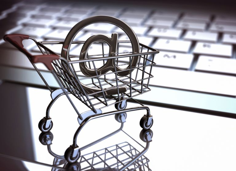 Shopping cart with at symbol
