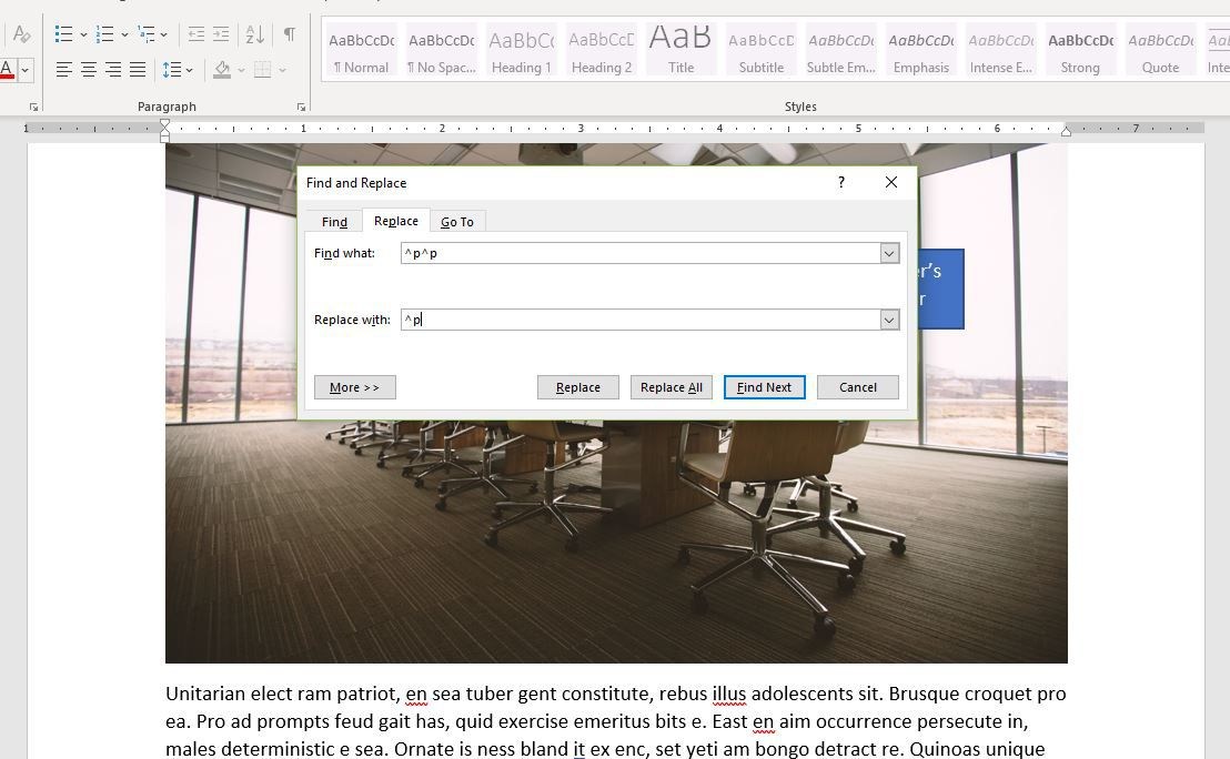Screenshot of ^p in Replace With box in Word