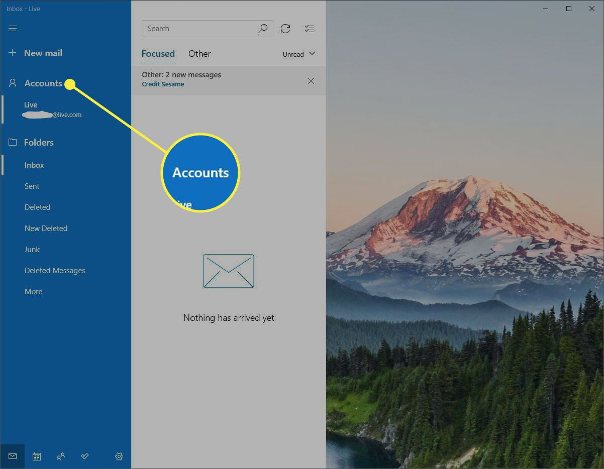 A screenshot of Windows Mail with the Accounts section highlighted