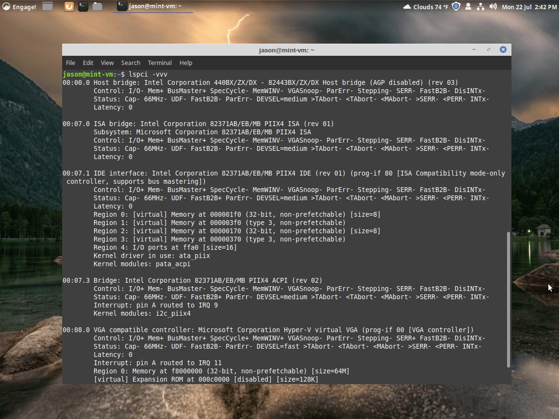 lspci -vvv output screen