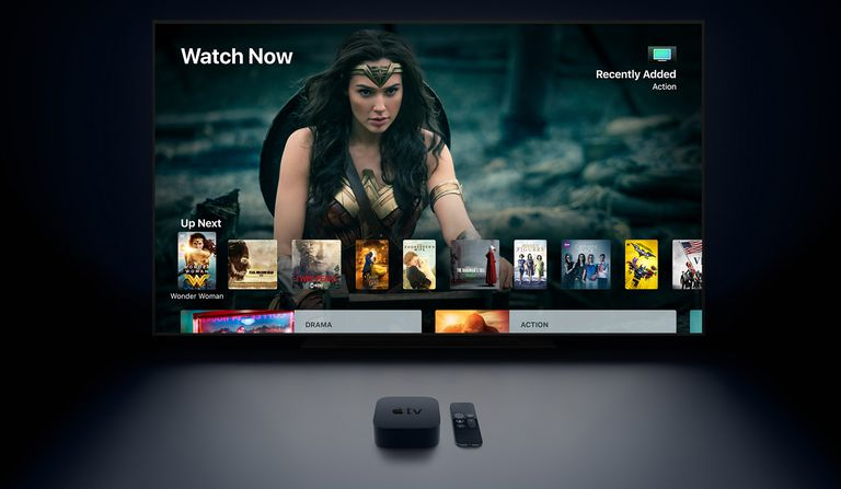 Apple TV 4K showing off the Wonder Woman movie.
