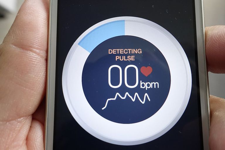 A medical app on mobile phone measuring pulse