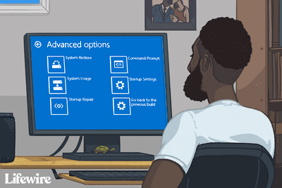 Illustration of a person using Advanced startup options on a Windows computer