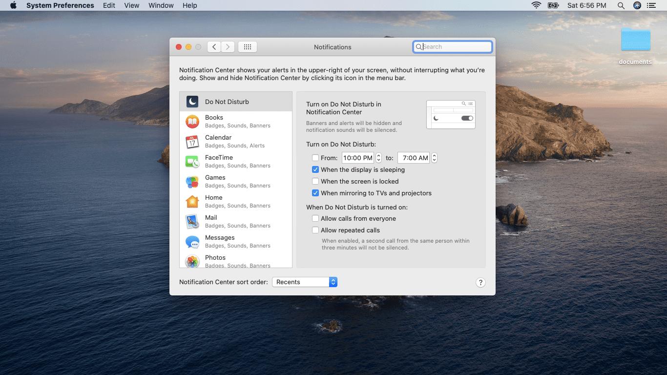A screenshot of the Mac notifications menu.