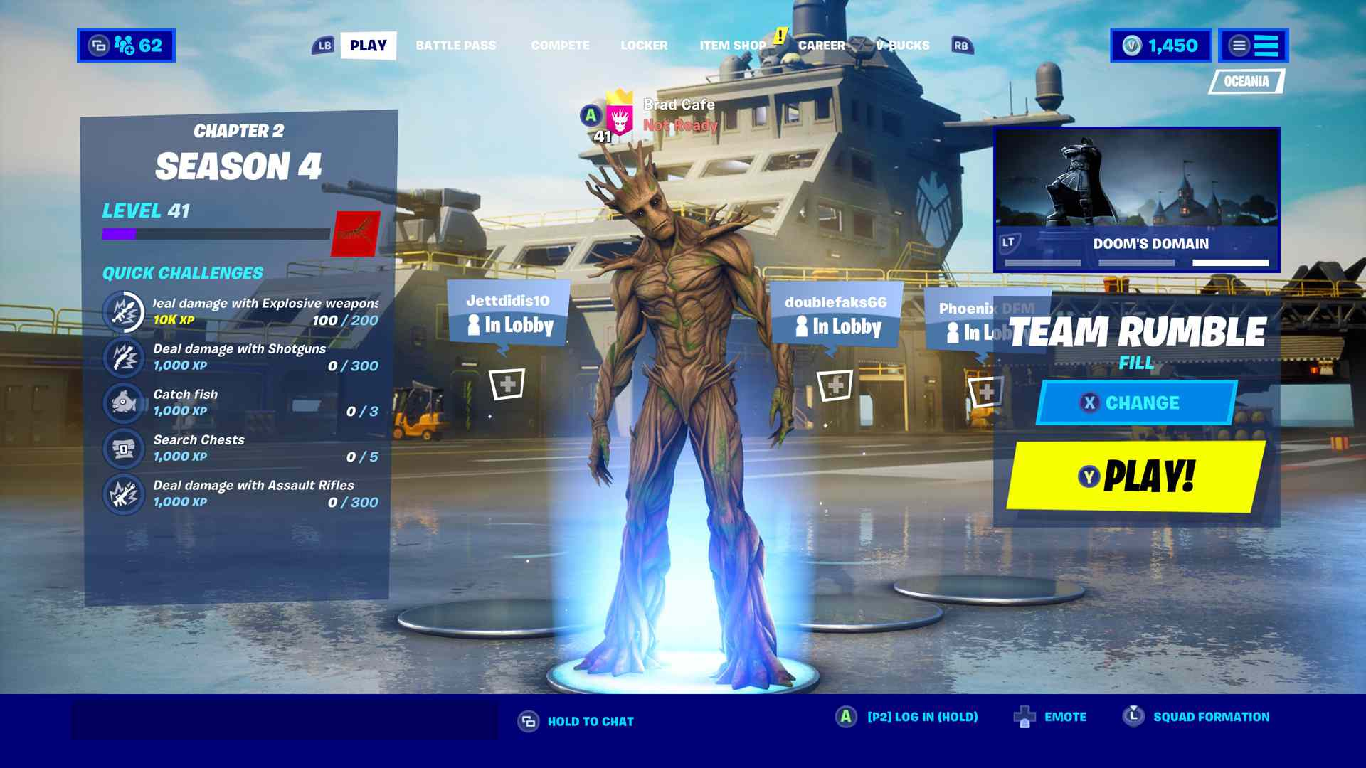 Fortnite lobby with Groot.