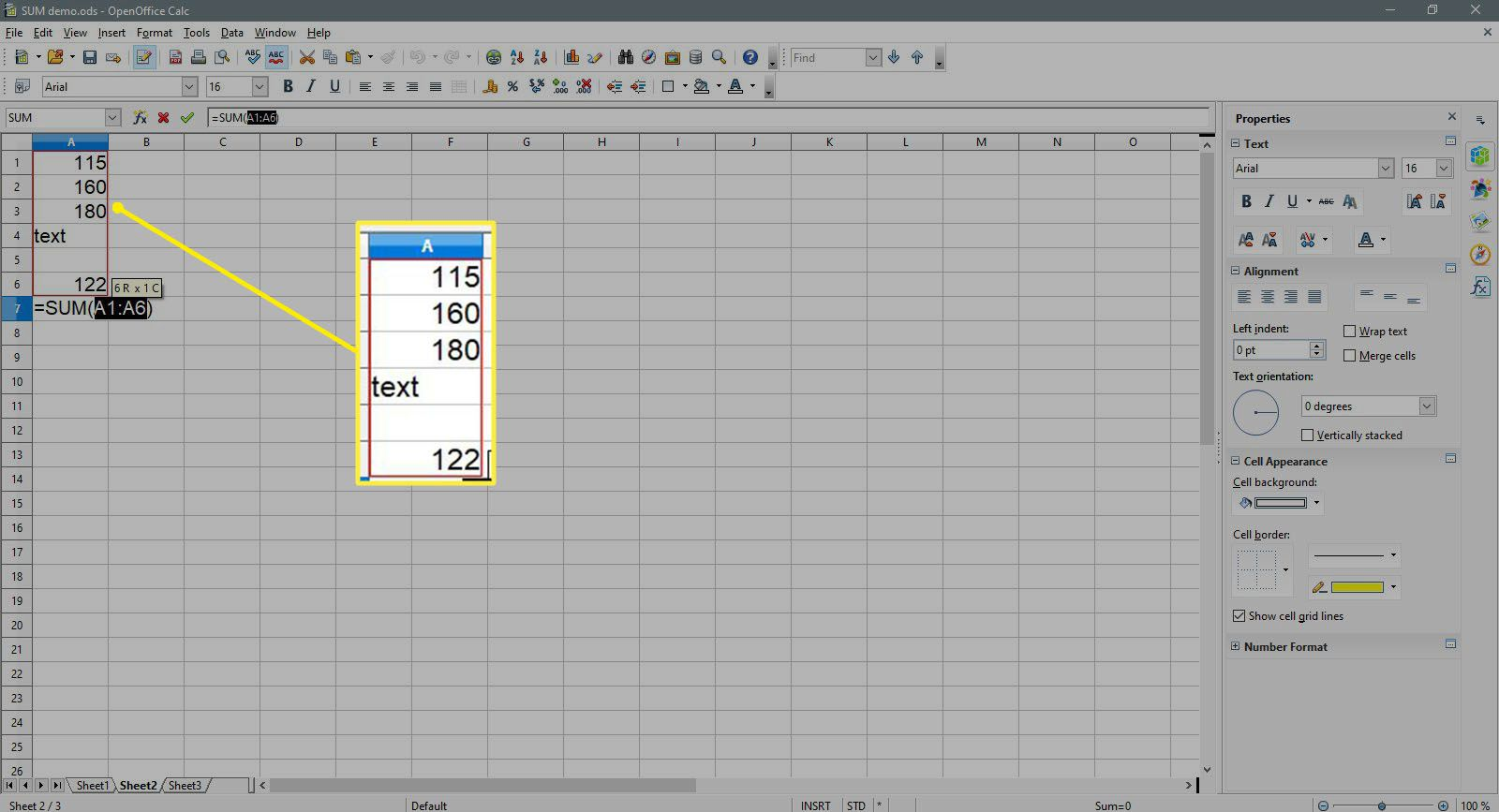Cell A1 to A6 is selected in OpenOffice Calc.