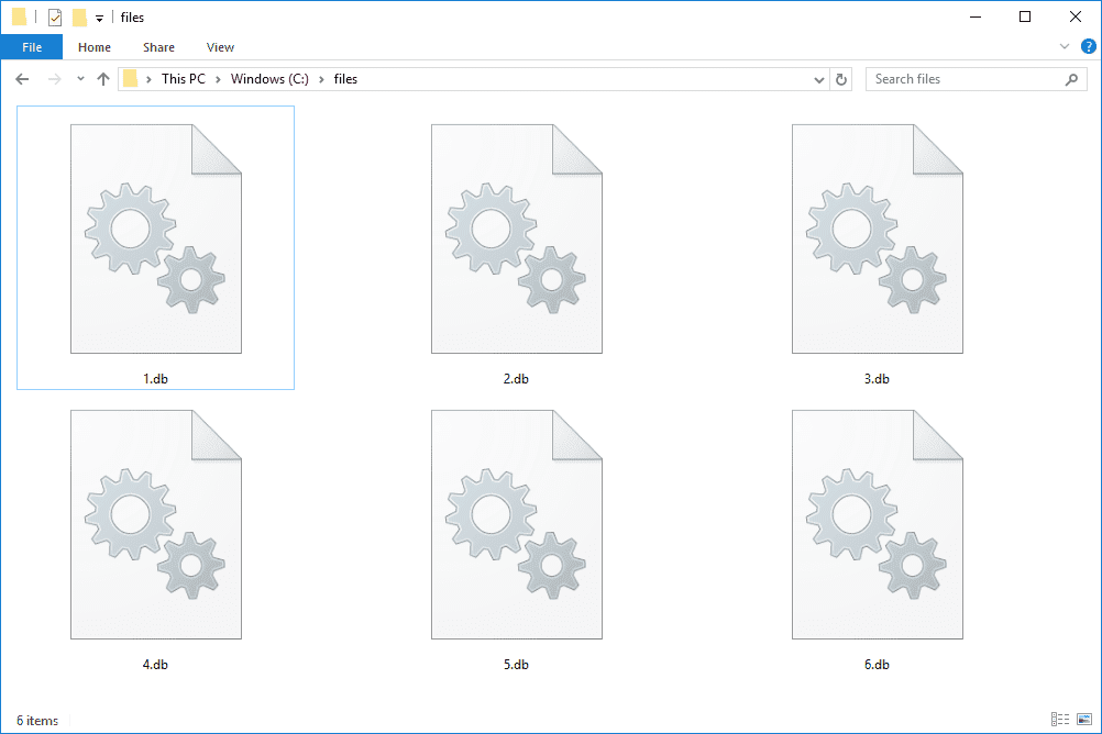 Screenshot of several DB files in Windows 10