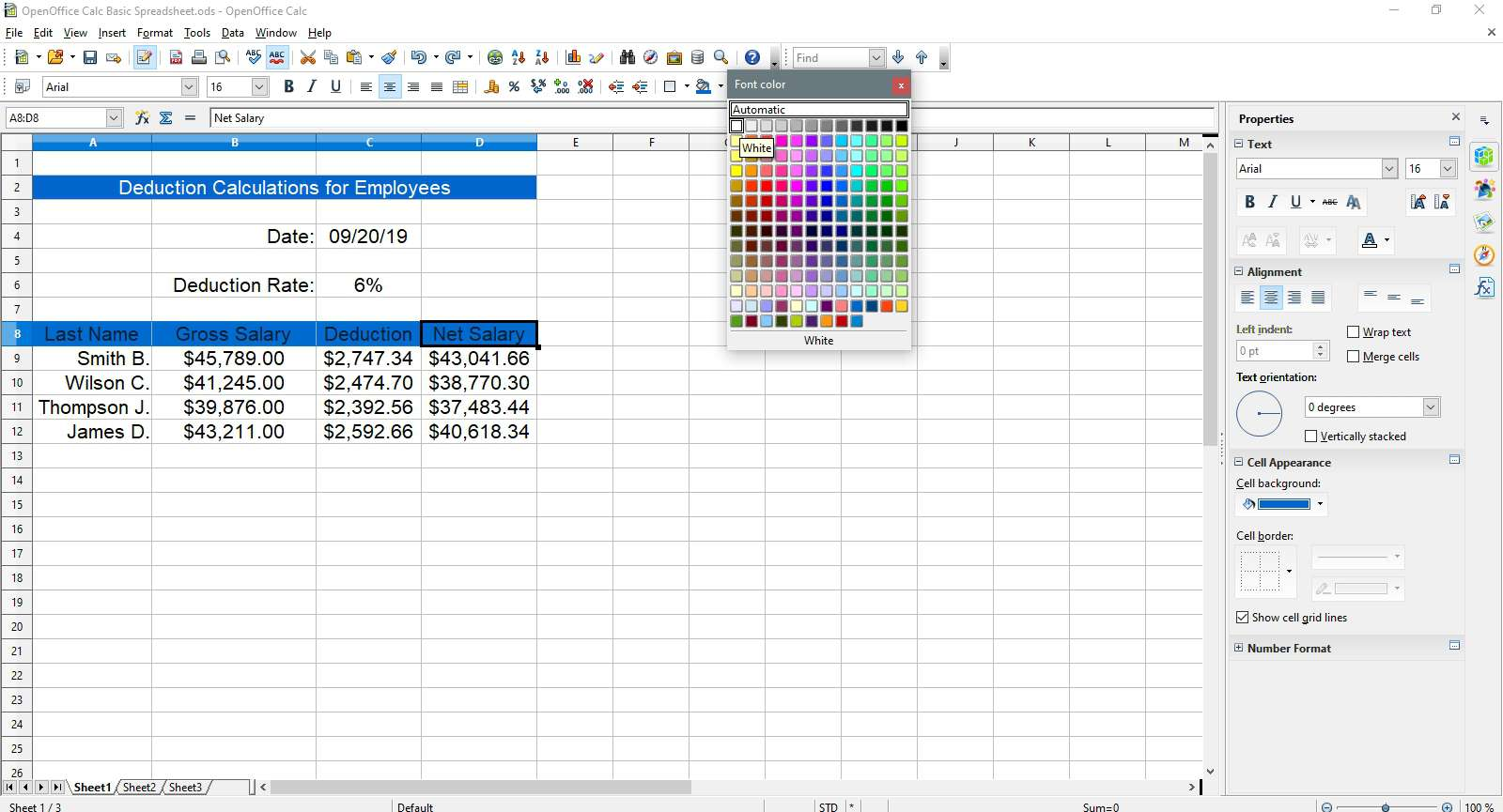 Selecting white for the text in OpenOffice Calc.