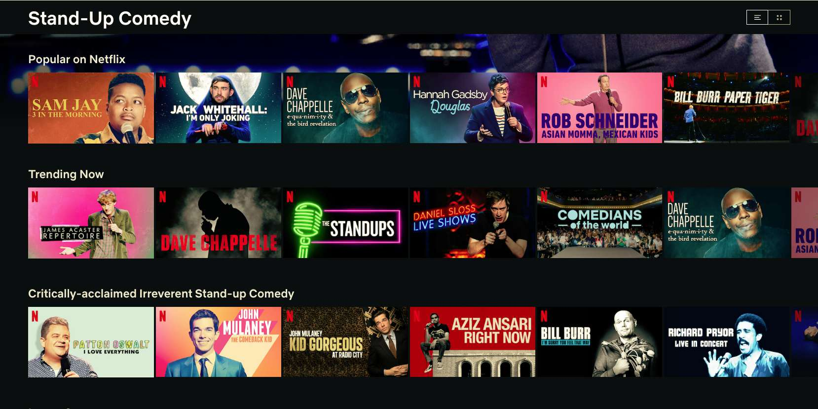 Stand Up comedy shows in Netflix revealed with secret code