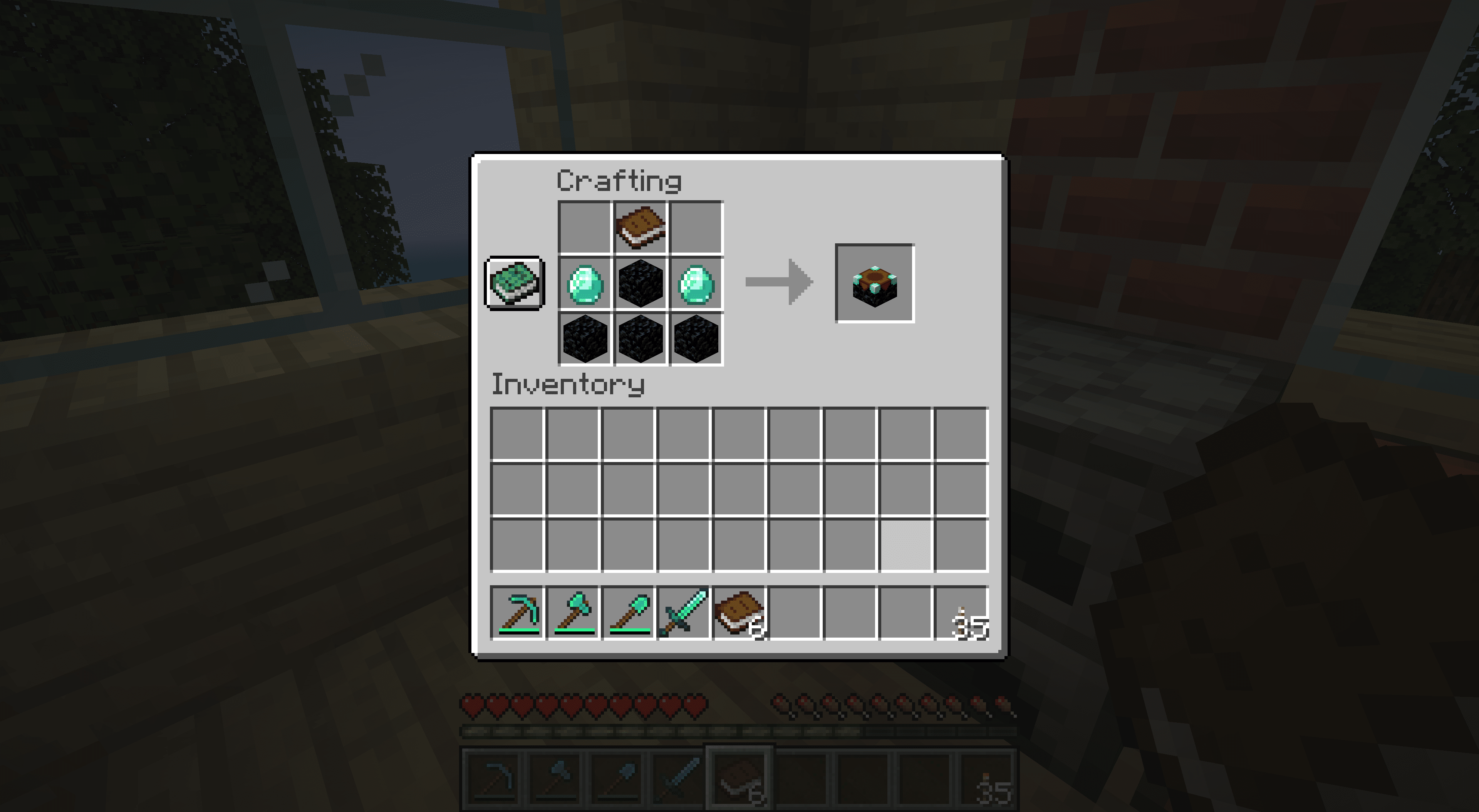 Crafting an enchanting table in Minecraft.
