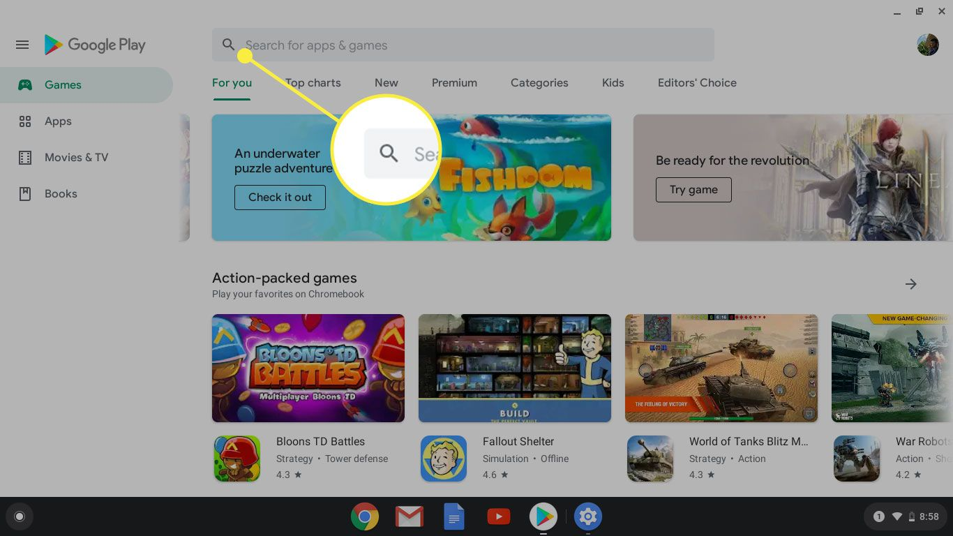 The search bar in the Google Play Store