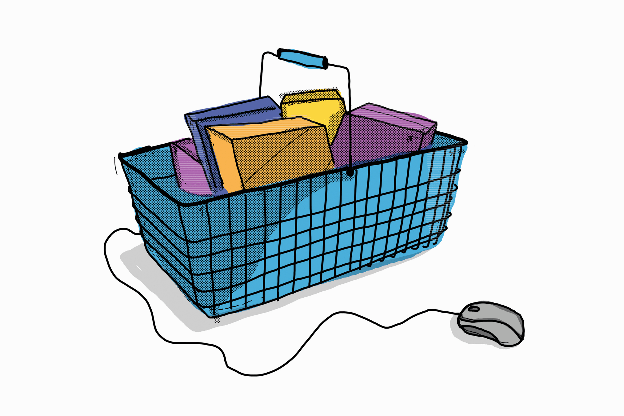 Computer mouse attached to a basket of items