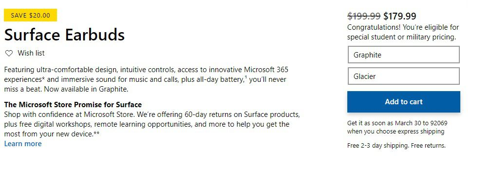 A sample product showing the Microsoft Store discount for military members.