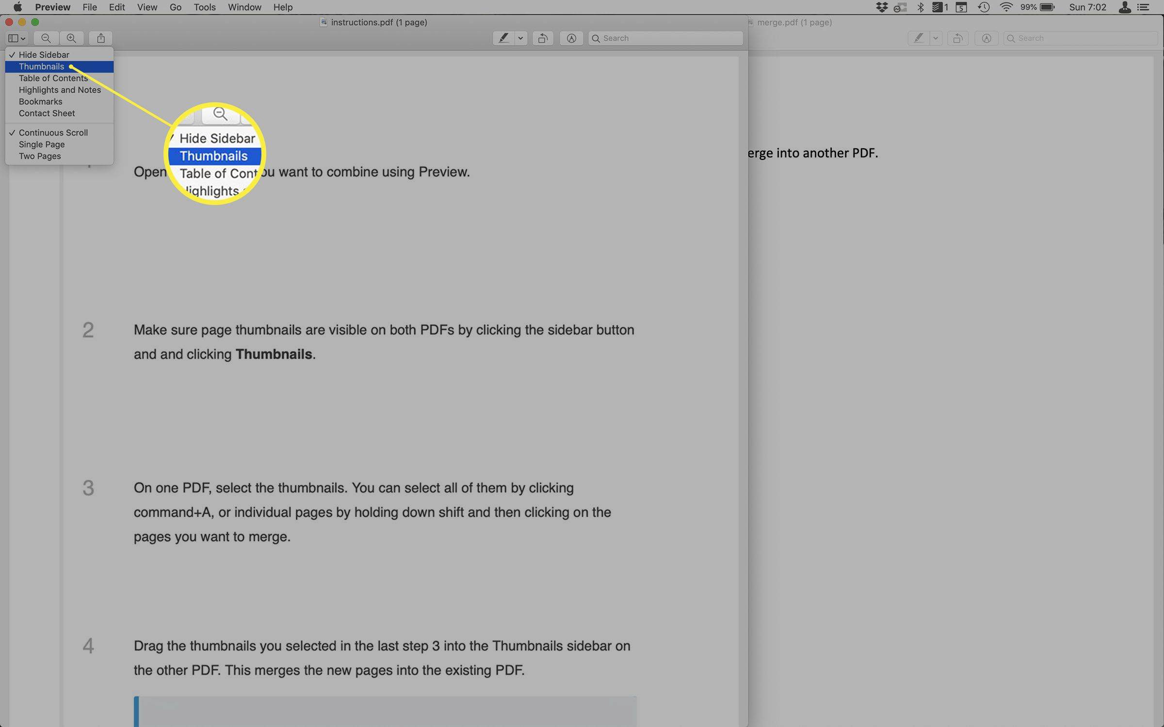 Screenshot of enabling the Thumbnails view in Preview.
