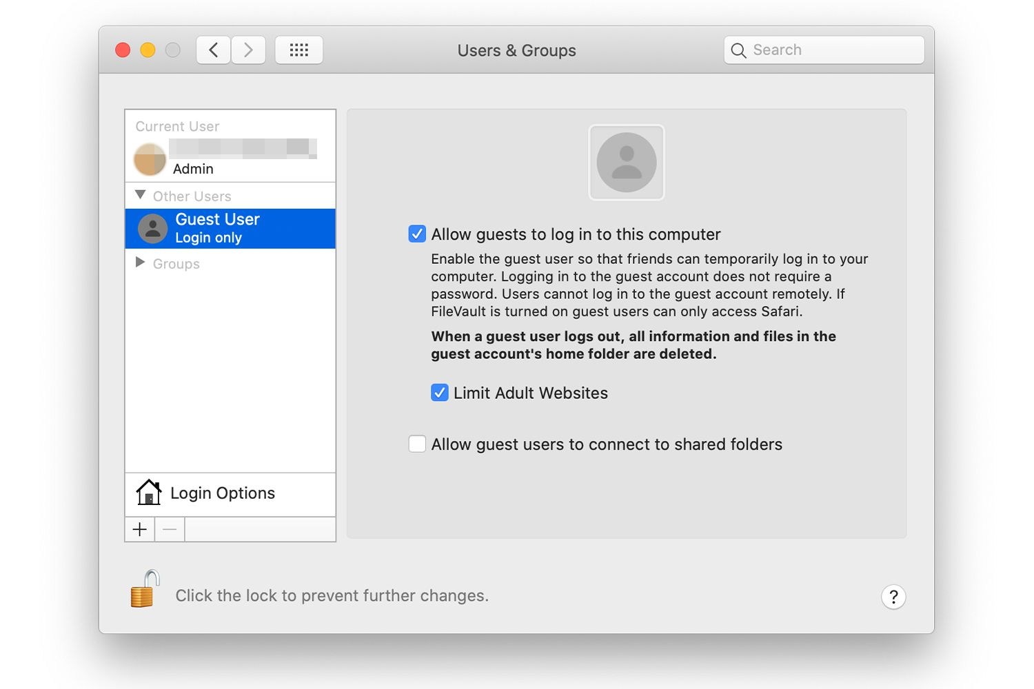 Guest account on Mac