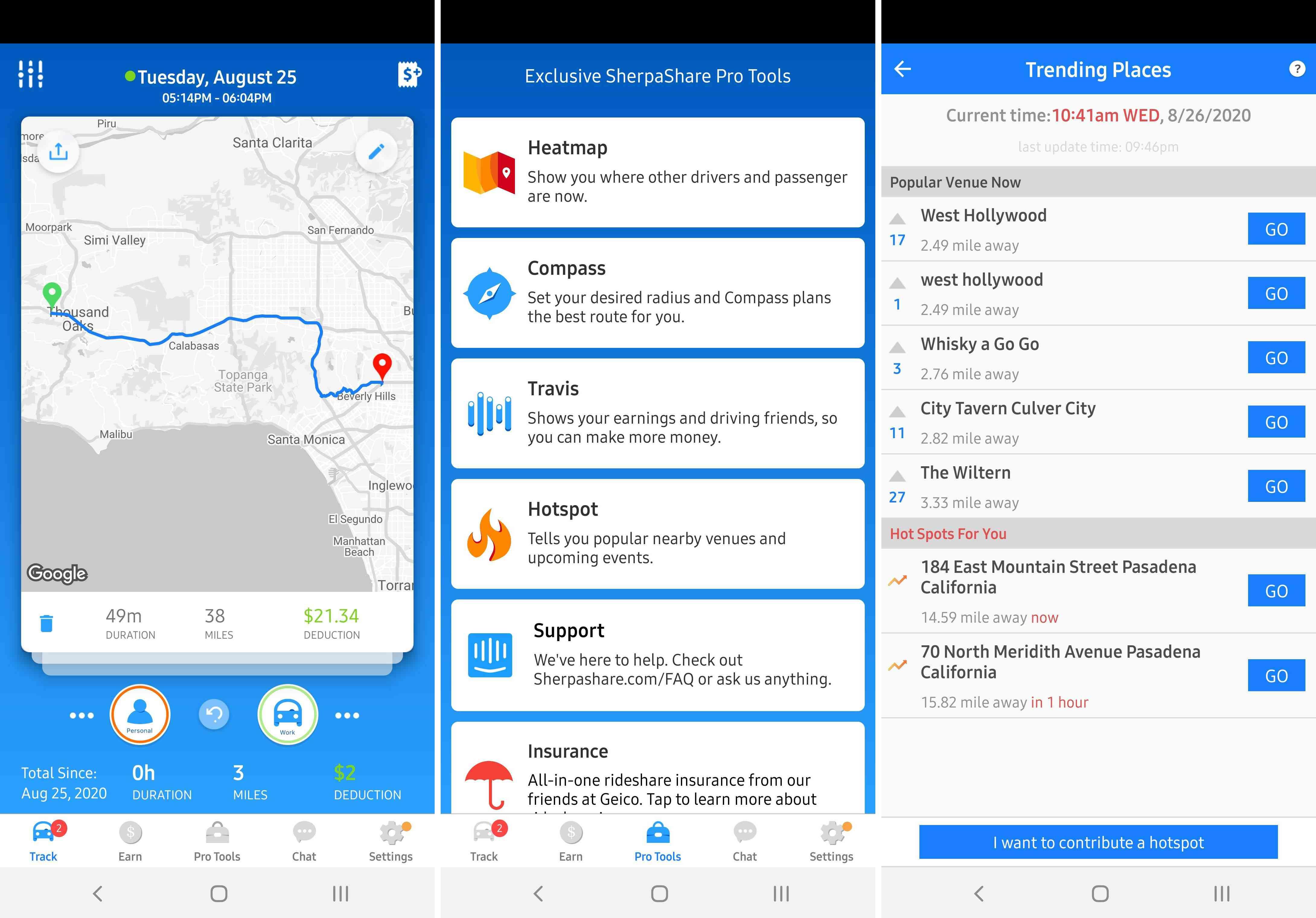 Three views of the SherpaShare app.