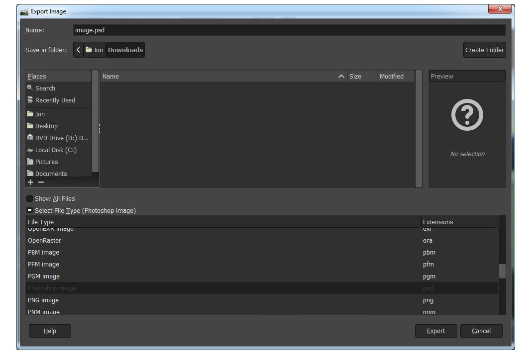 Converting ORA to PSD with GIMP