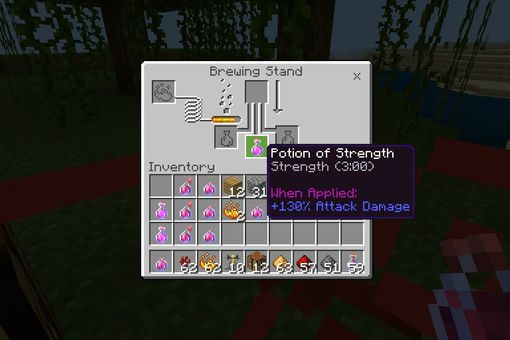 A potion of strength in the Brewing stand in Minecraft