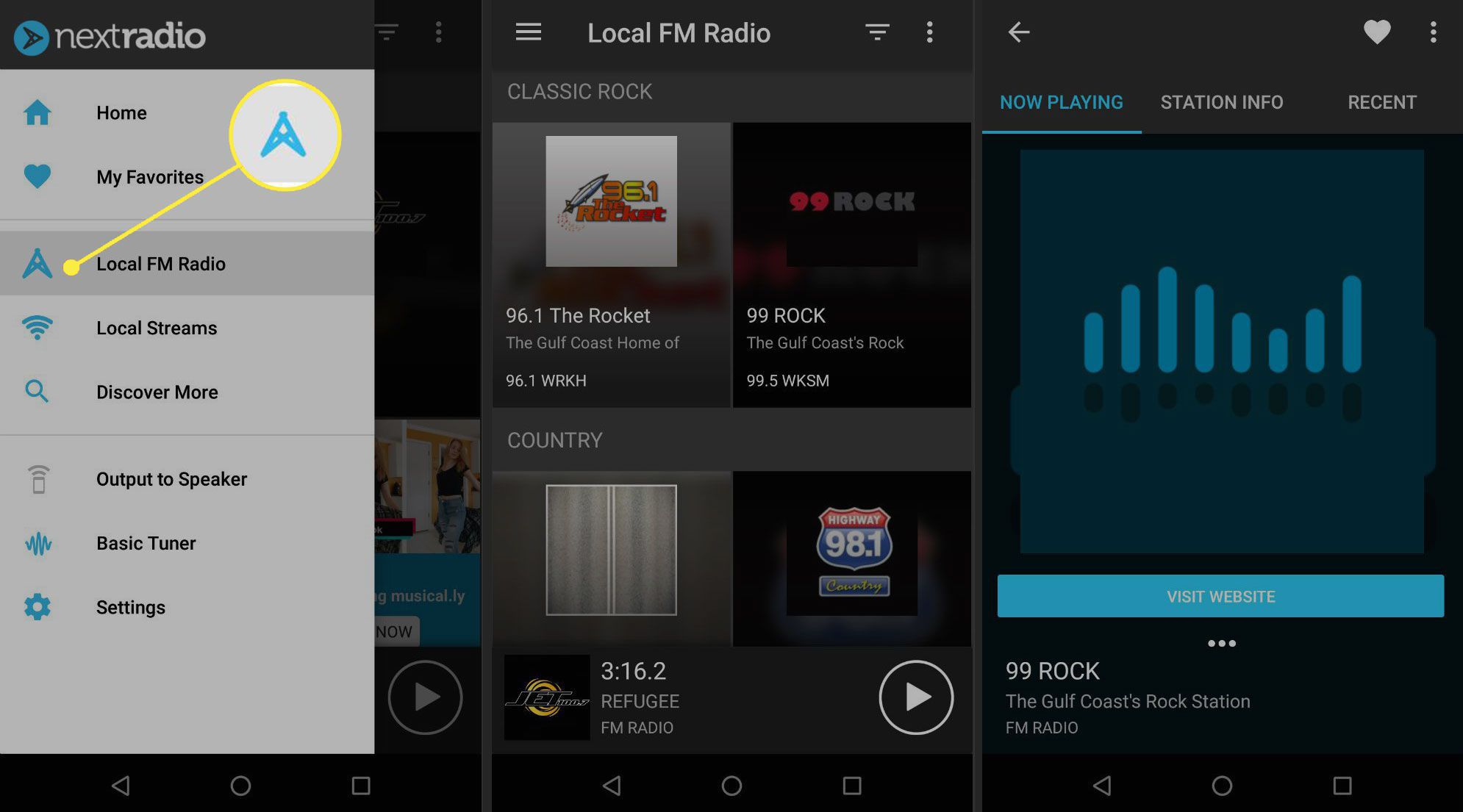 Selecting a local radio station in NextRadio