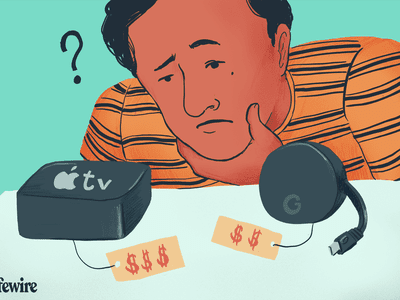Illustration of a person looking at and deciding between an Apple TV and Google Chromecast