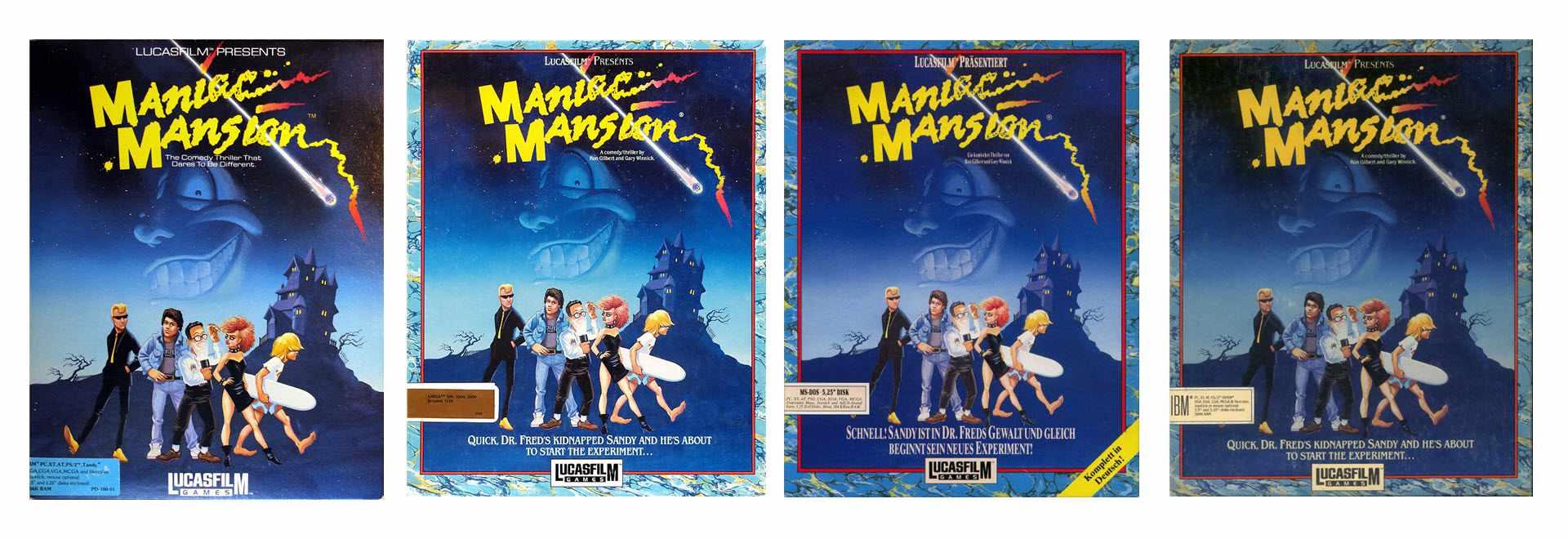 Maniac Mansion Box Art - Various Versions