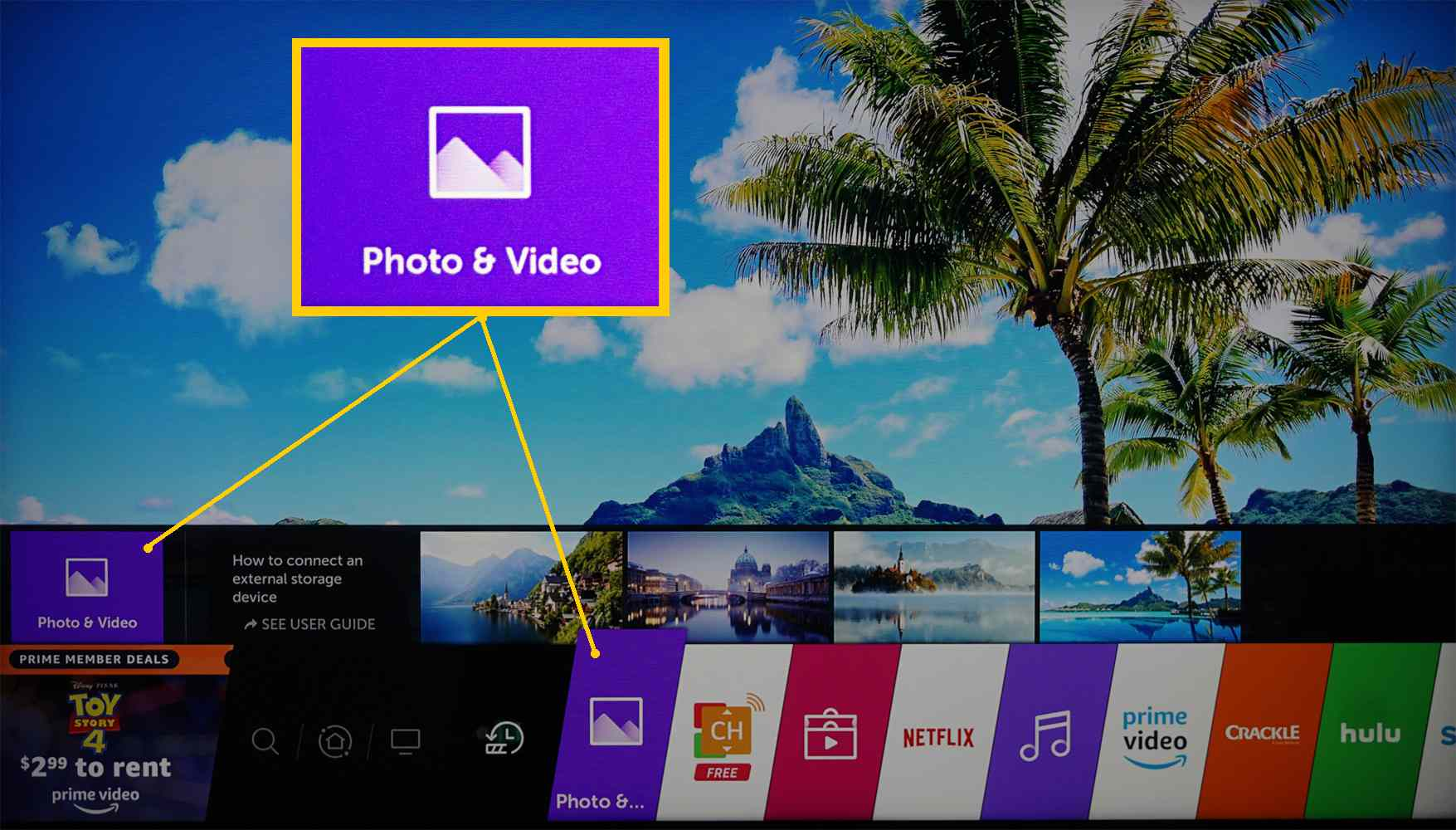 LG 4K Ultra HD TV – Homepage – Photos/Video Category Spotlighted
