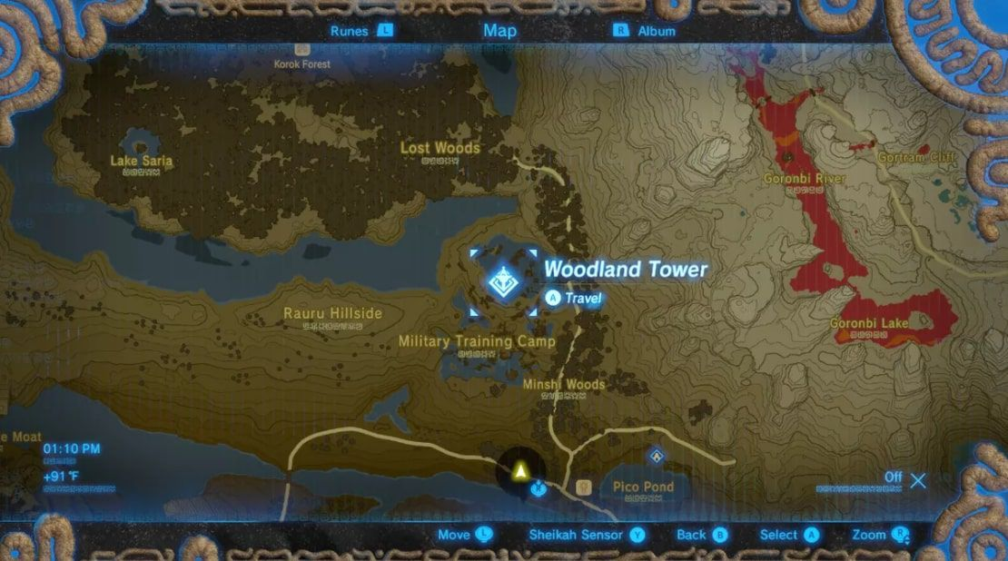 Woodland Tower south of the Lost Woods in Zelda: BOTW