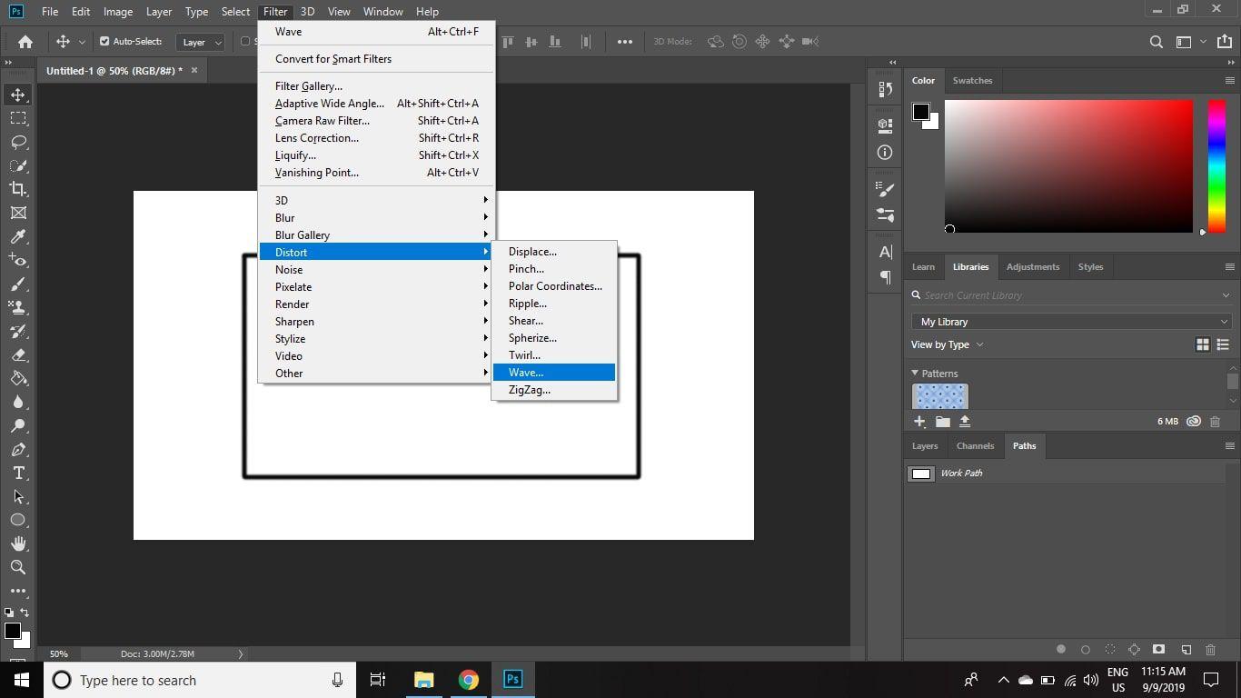 Select Filter > Distort > Wave.