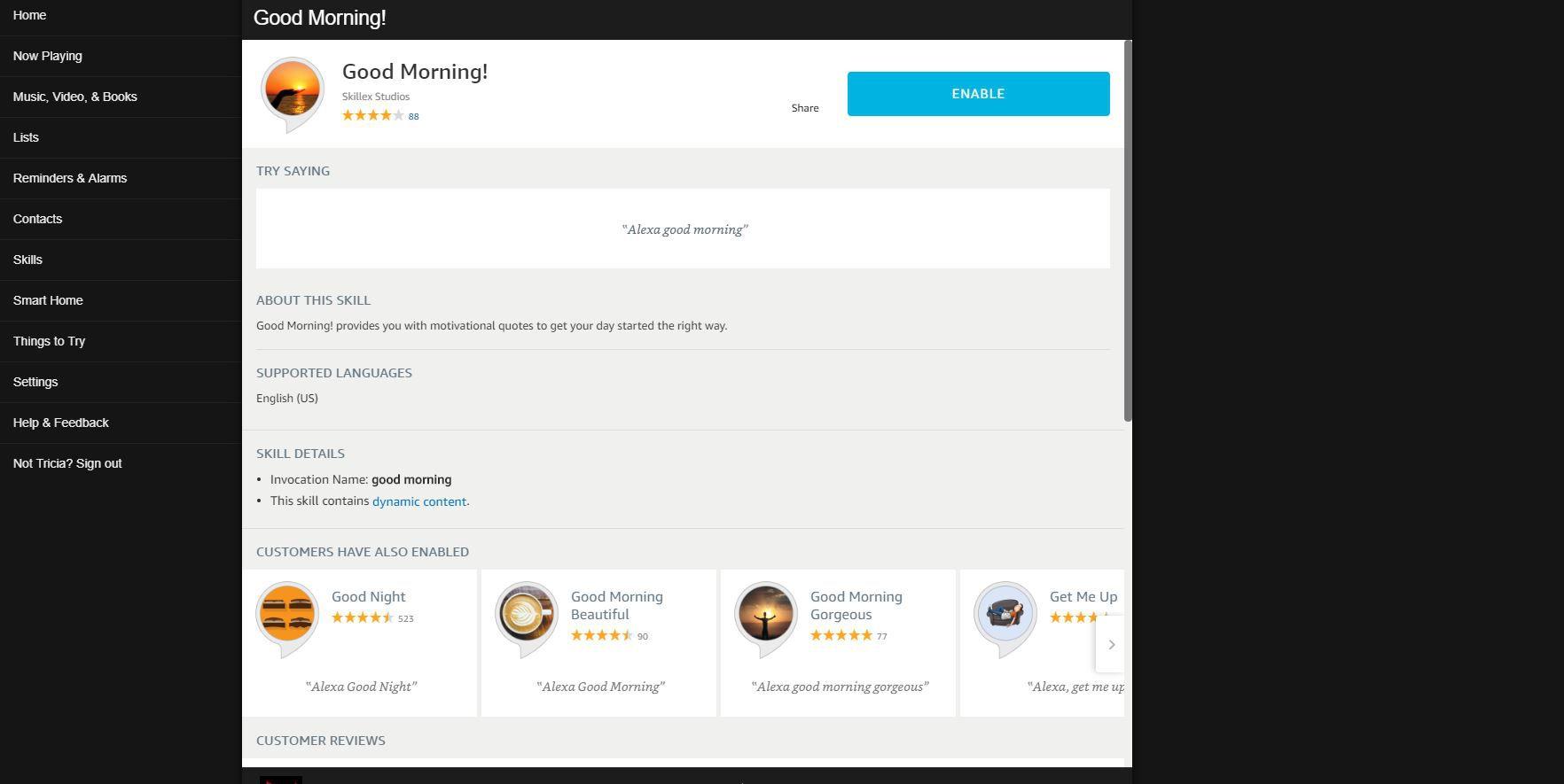 Screenshot of Good Morning Skill page