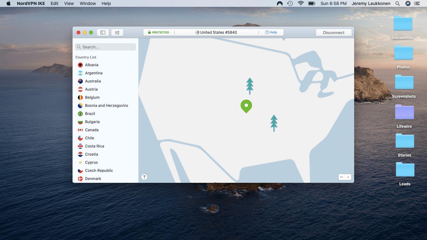 A screenshot of a VPN on a Mac.