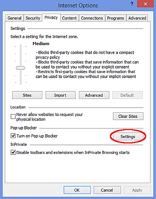 Popup Blocker Internet Explorer