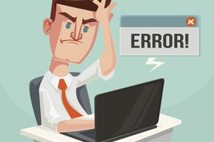 Illustration of a business person receiving an error message from a blocked website.