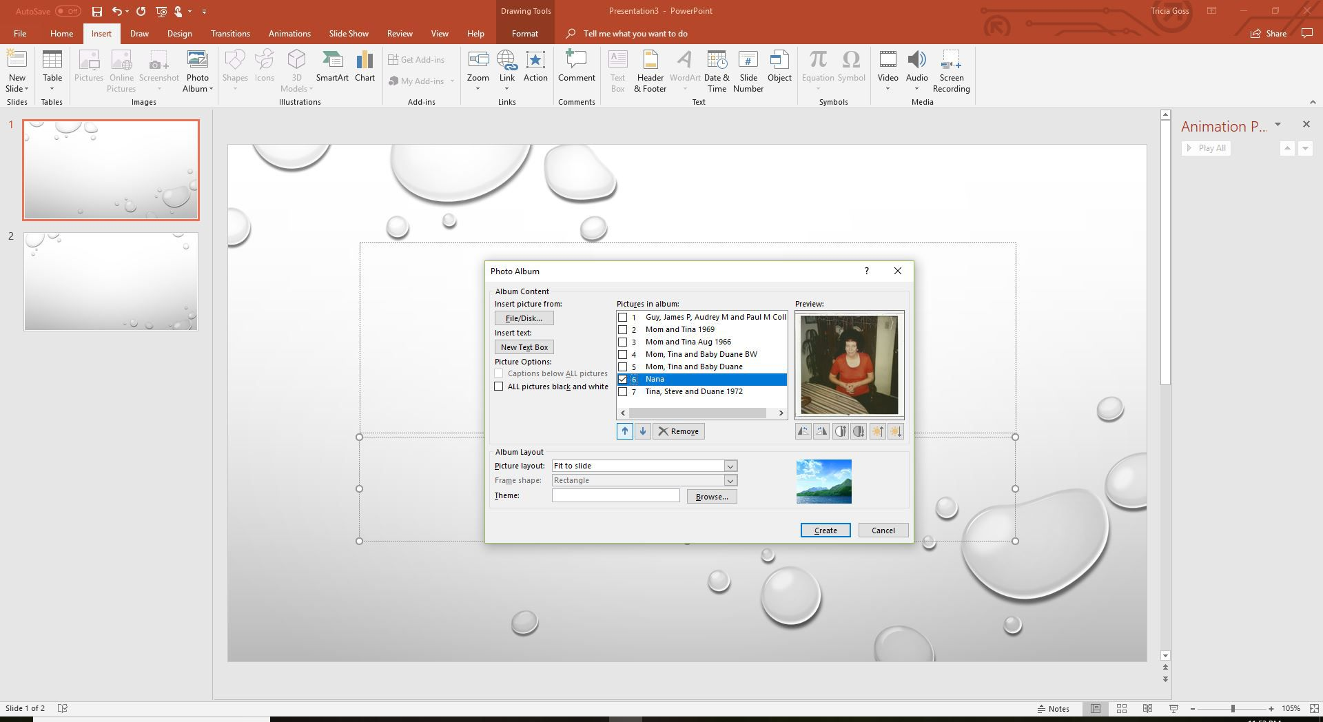 A screenshot of the changing the order of the photos in a PowerPoint photo album.