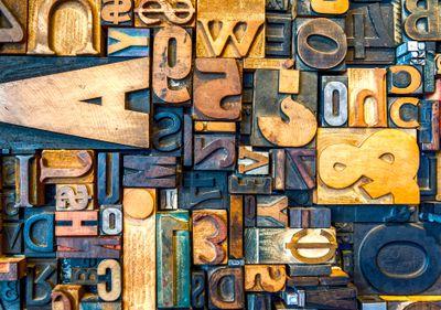 Various letters on type blocks
