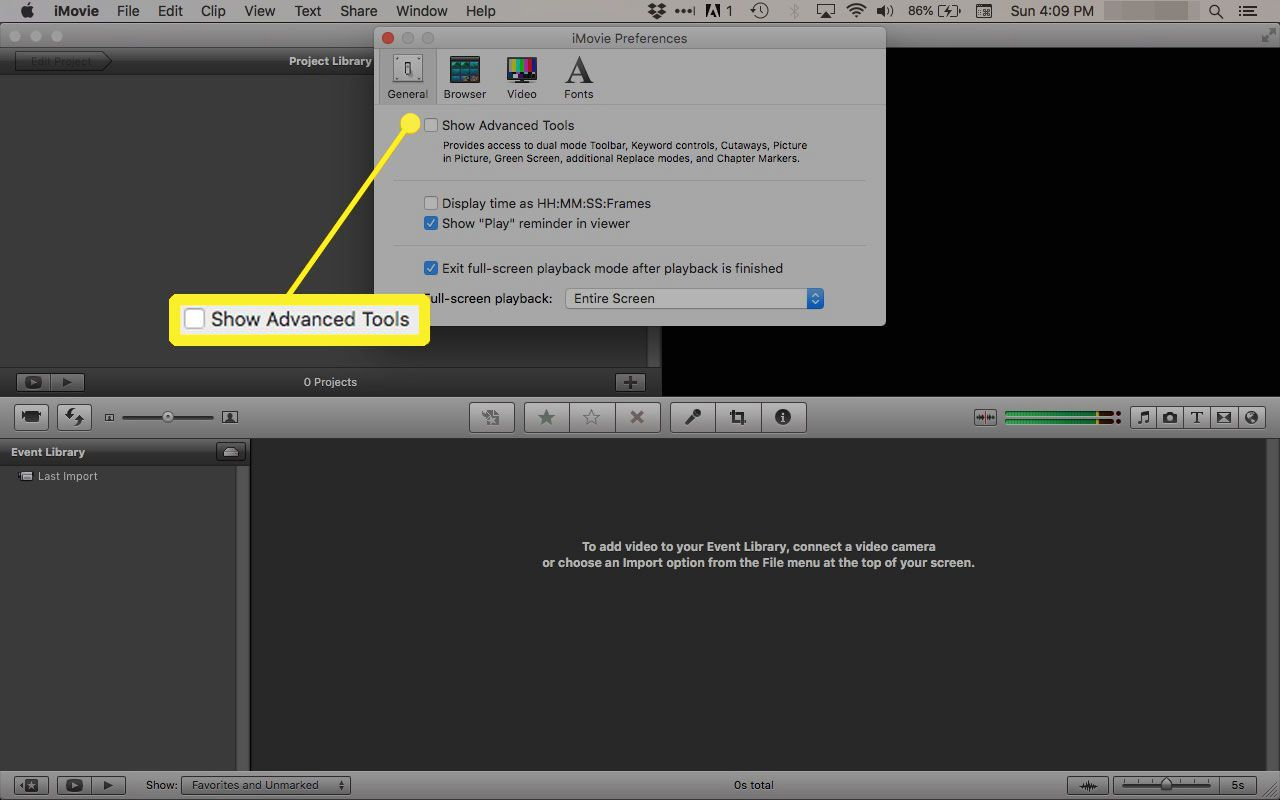 Show Advanced Tools in iMovie '11