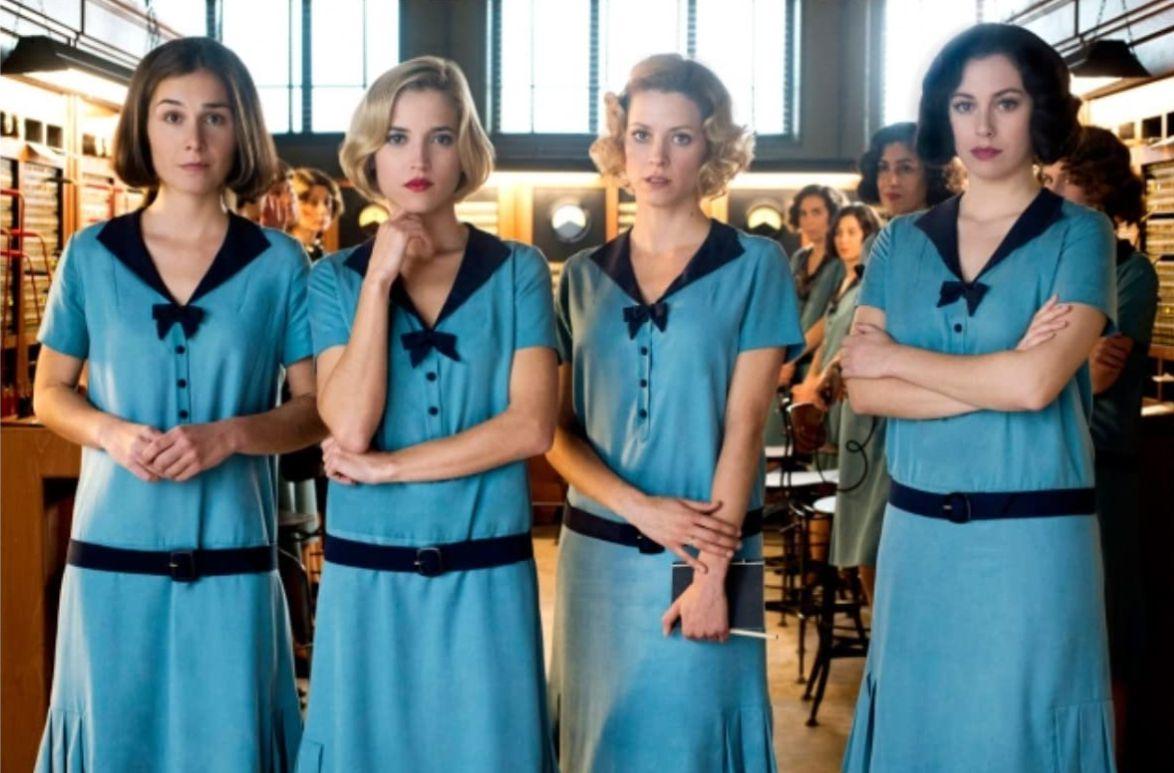 Blanca Suárez, Nadia de Santiago, Maggie Civantos, and Ana Fernández in 'Cable Girls.'