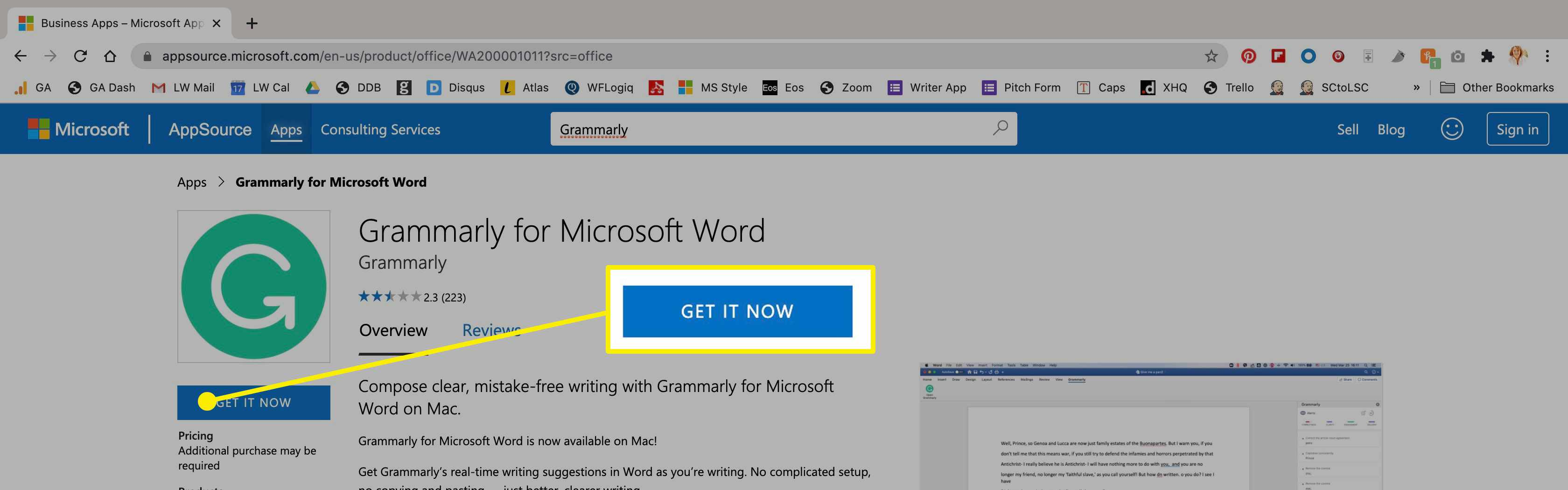 The Grammarly app in the Microsoft Store on Mac.