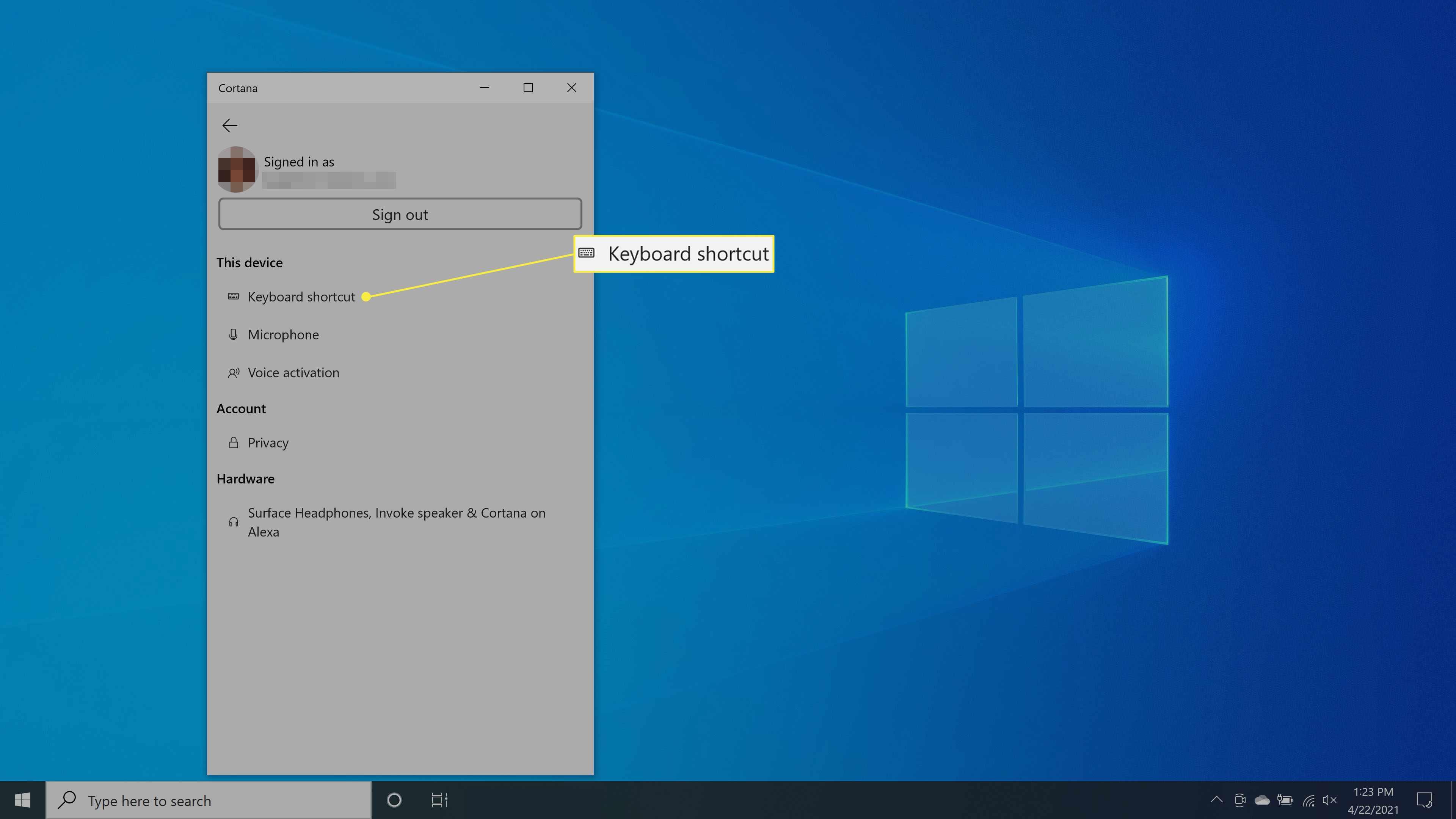 Selecting Keyboard shortcut setting in Cortana in Windows 10.