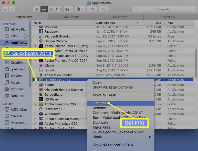 Get info selected in application right-click menu