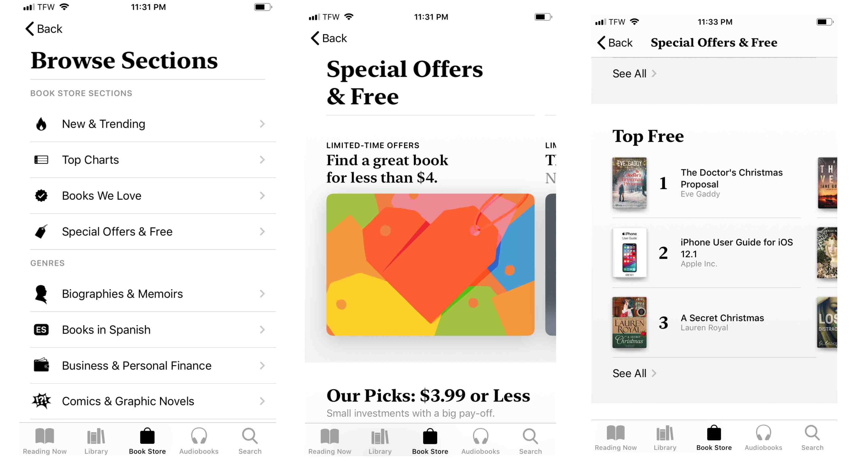 Screenshot of Special Offers and Free section on iPhone