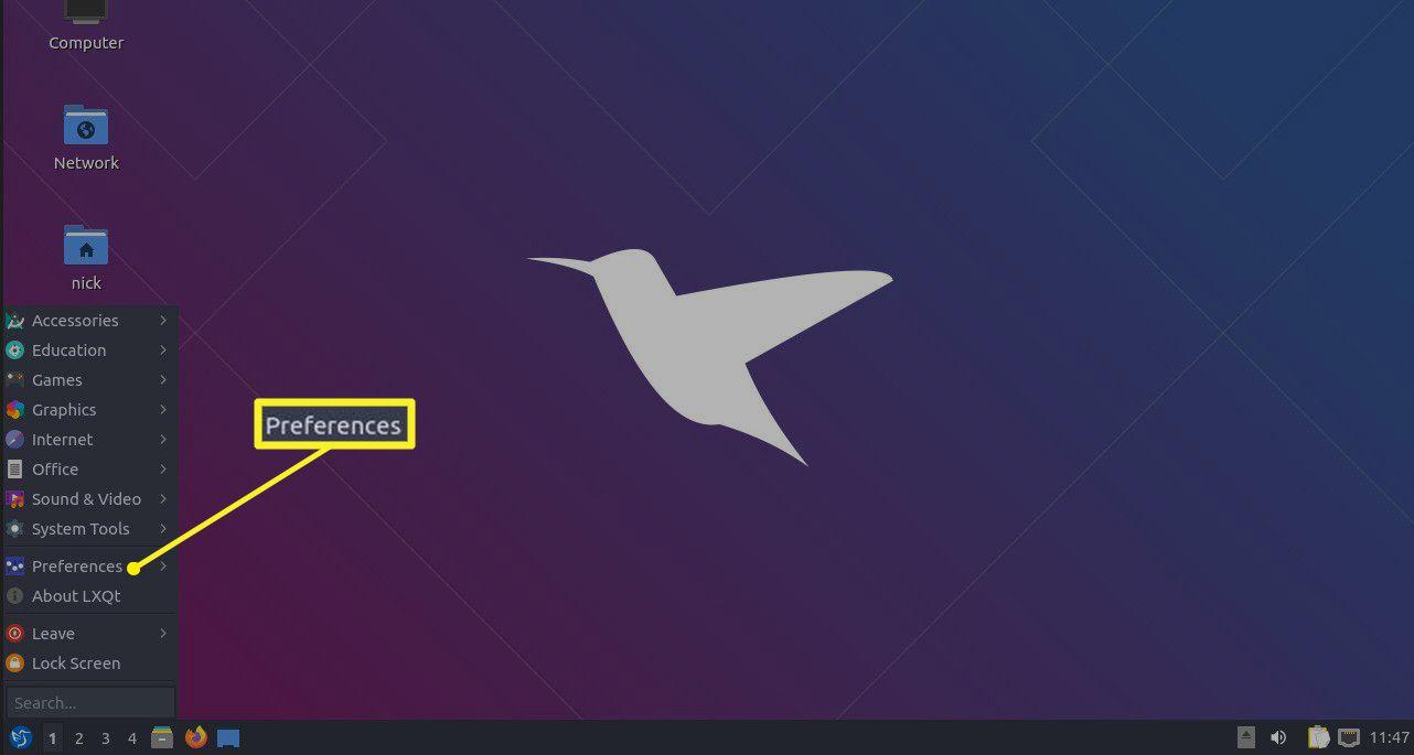 The Lubuntu desktop showing the Preferences option