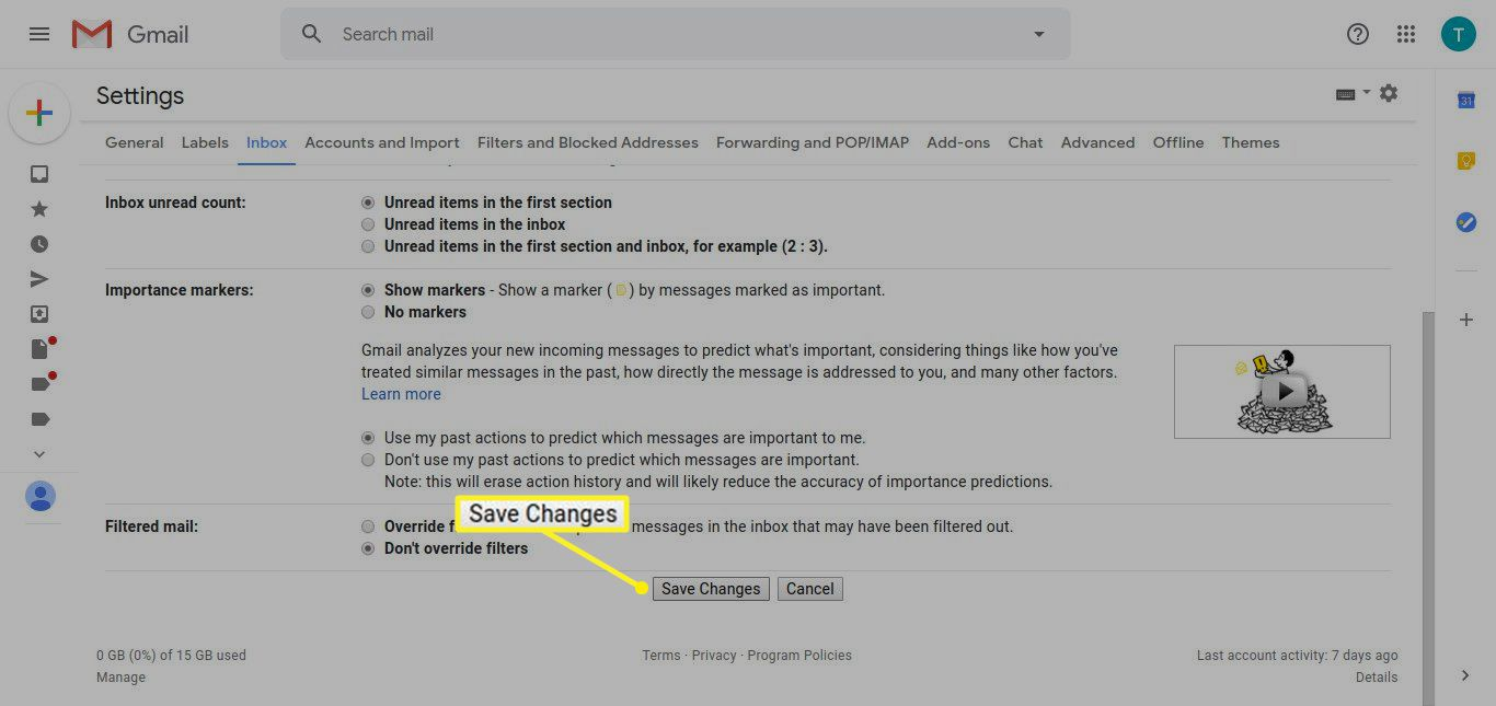 Gmail Settings with Save Changes highlighted