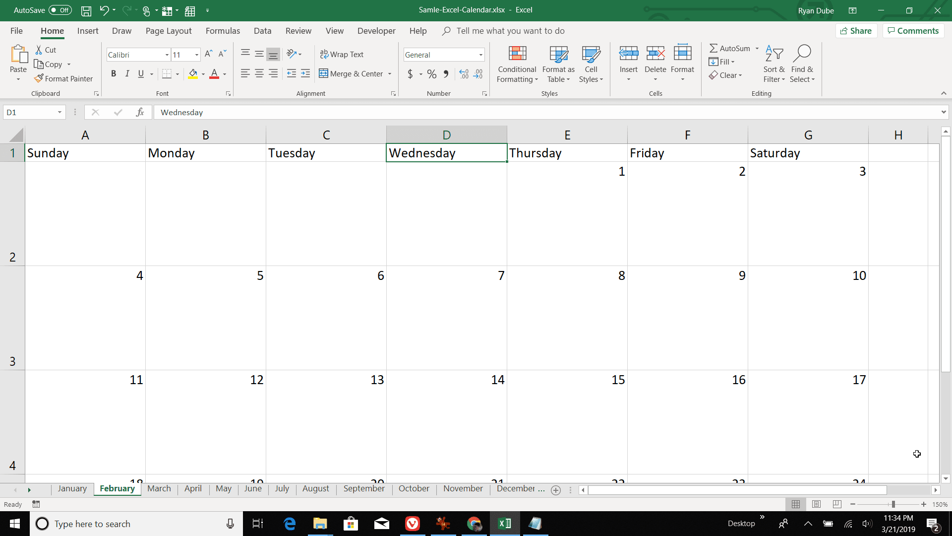Screenshot of numbering days for February in Excel