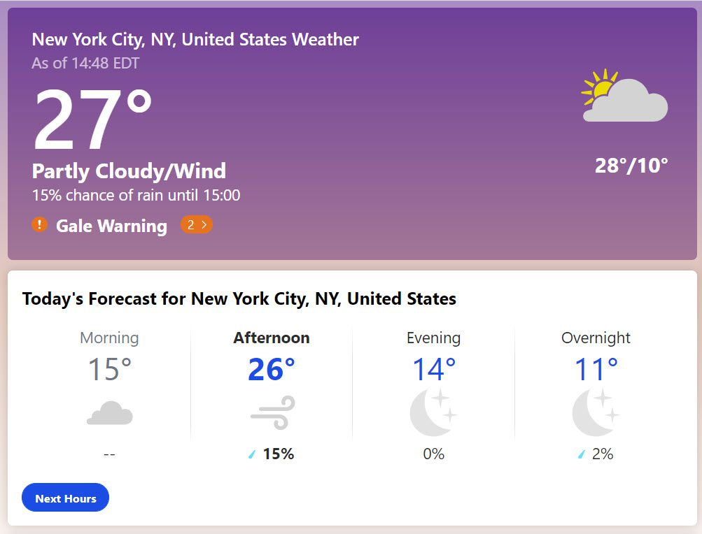 The Weather Channel with weather in New York