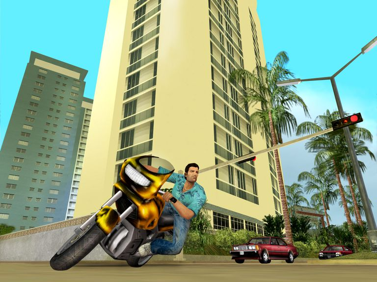 Character on a motorcycle in Grand Theft Auto: Vice City