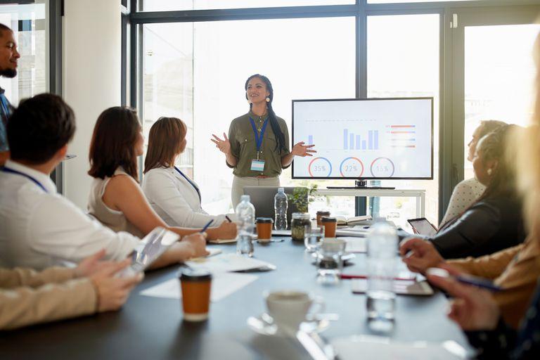 professional giving slide presentation