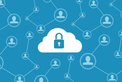 A lock in a cloud, representing VPN style security on the internet